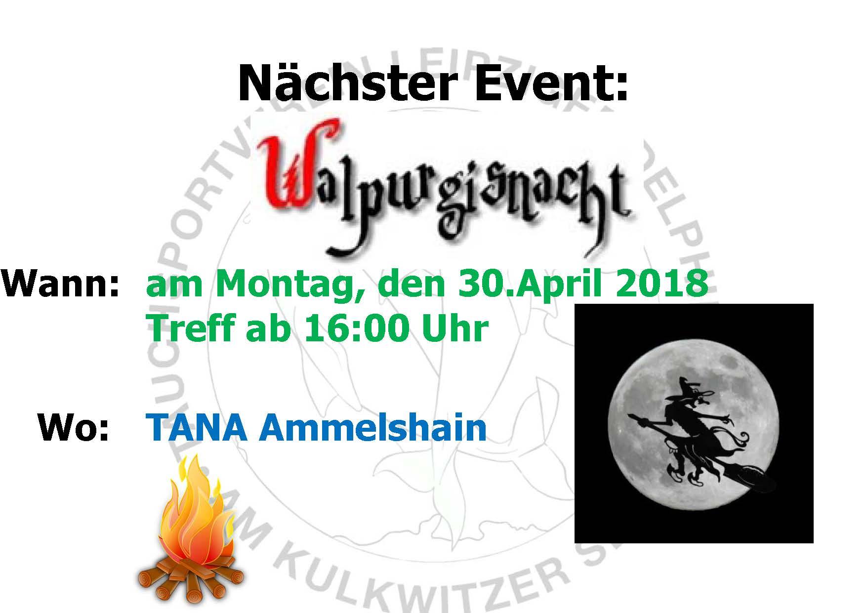 2018 03 25 Nächster Event Delphine Walpurgisnacht 2018