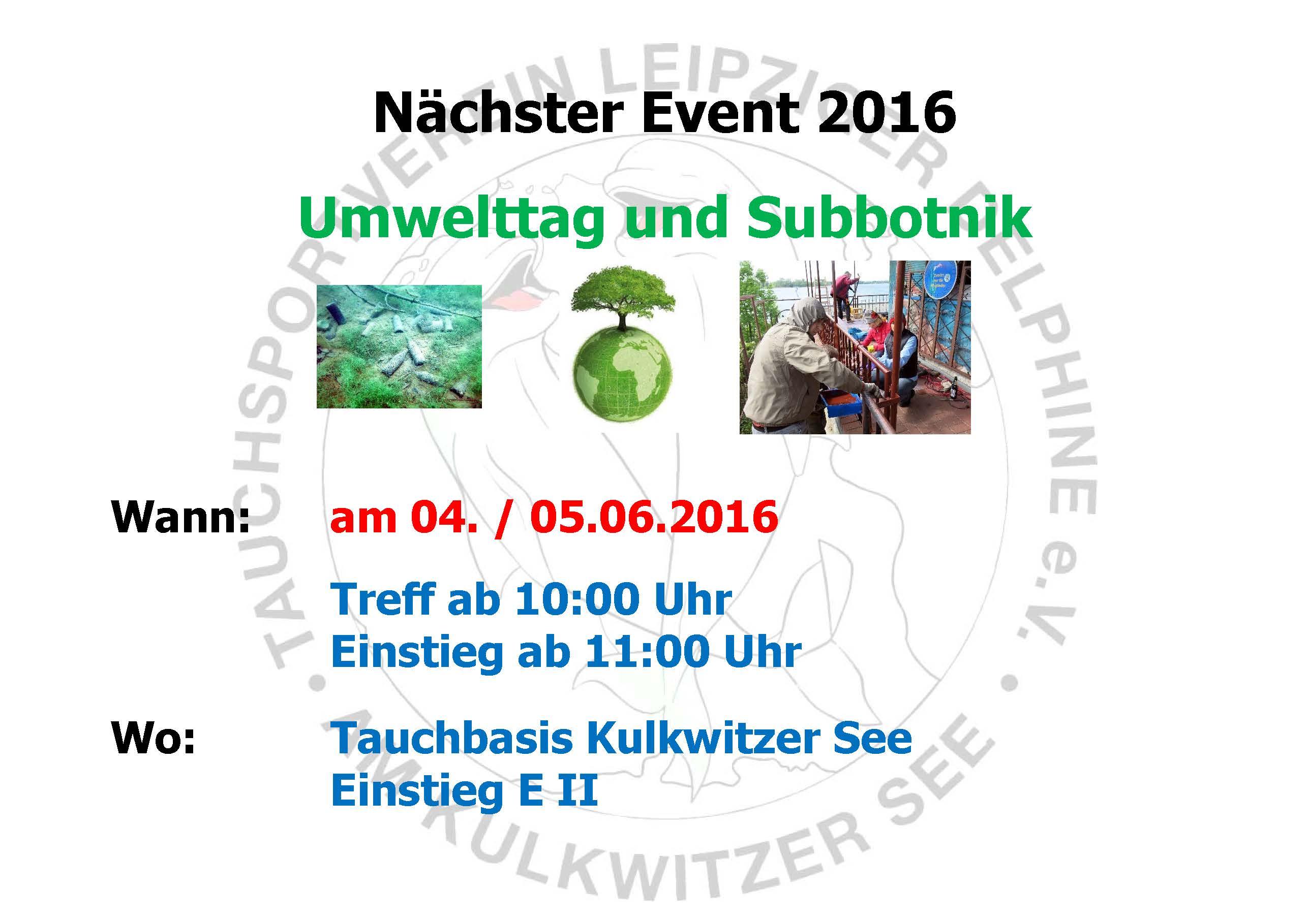 2016 05 10 Nächstes Event Delphine Umwelttag Juni 2016